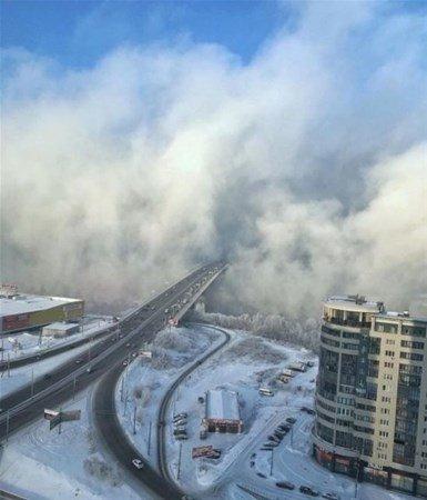 Rusya Krasnoyarsk şehrinde kış